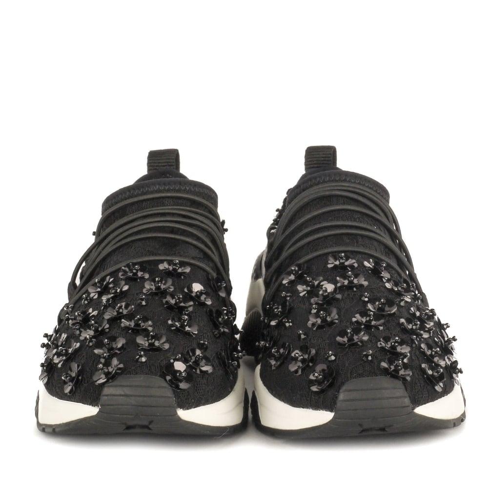 Black floral embellished trainers