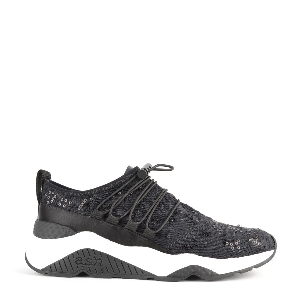 793aa362732c Ash Footwear Miss Rete Black Satin and Lace Trainer