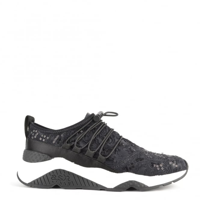 Ash Footwear Miss Rete Black Satin and Lace Trainer