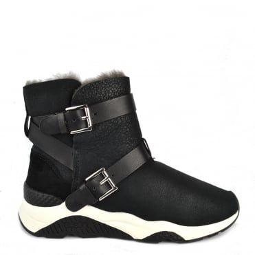 Mochi Black Suede Shearling Boot