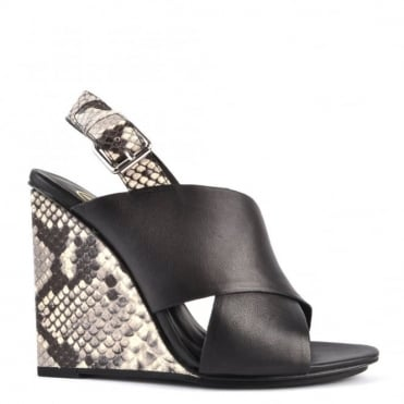 Mood Black and Python Wedge Sandal