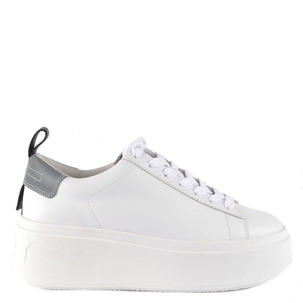 Ash Moon White \u0026 Grey Leather Trainers