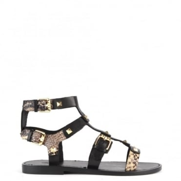 Morocco Black and Roccia Studded Flat Sandal