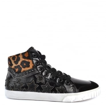 Musik Bis Black Patent Leather and Leopard Trainer