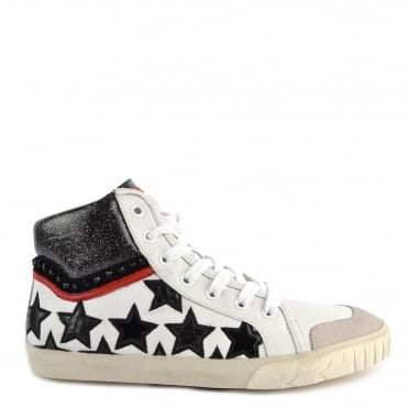 Musik White and Motif Star Hi-Top Trainer