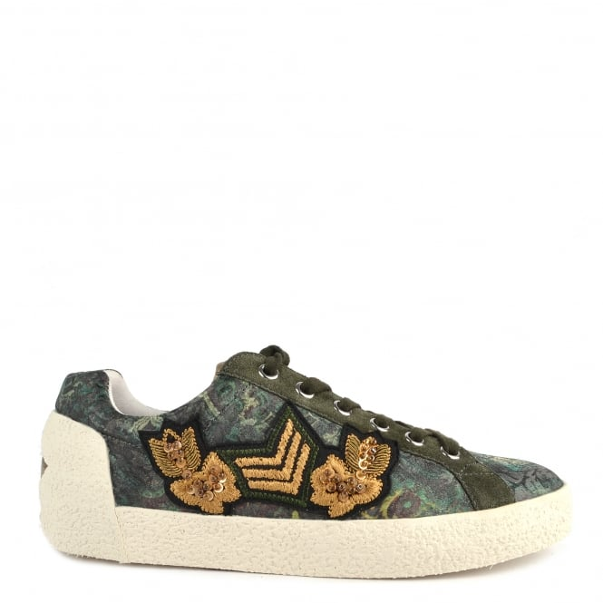 Ash Footwear Nak Arms Military Green and Printed Trainer