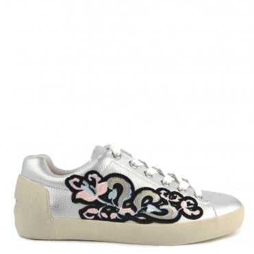 Nak Bis Silver Leather Embroidered Trainer