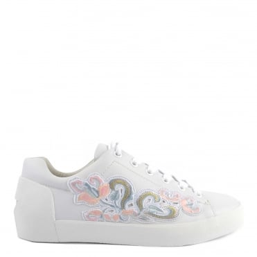 Nak Bis White Leather Embroidered Trainer