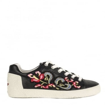 Nak Black Leather Embroidered Trainer