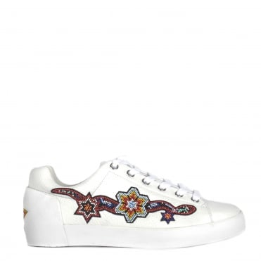 Namaste White Leather Beaded Trainer