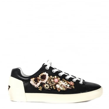 Naoki Black Leather Embellished Trainer