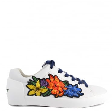 Neo White Leather & Floral Embroidery Trainer