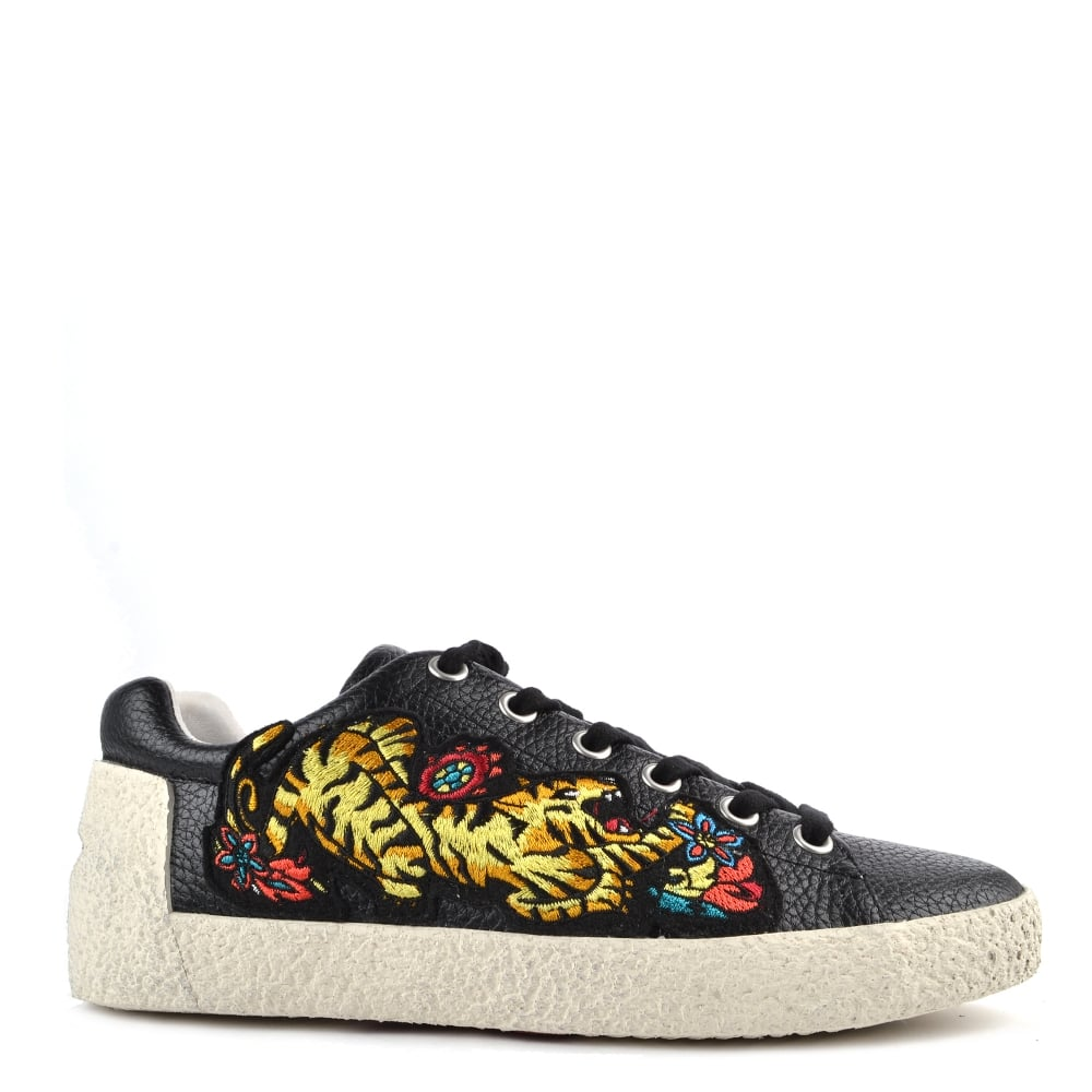 90a8ebbf5be Ash Footwear Niagara Black Leather Tiger Embroidered Trainer