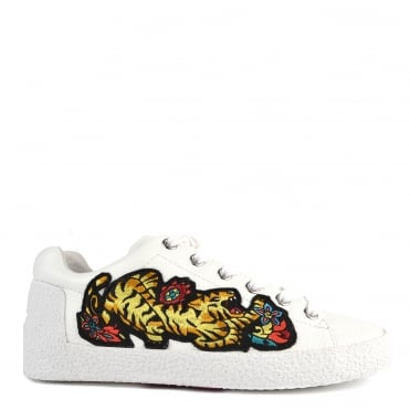 Niagara White Leather Tiger Embroidered Trainer