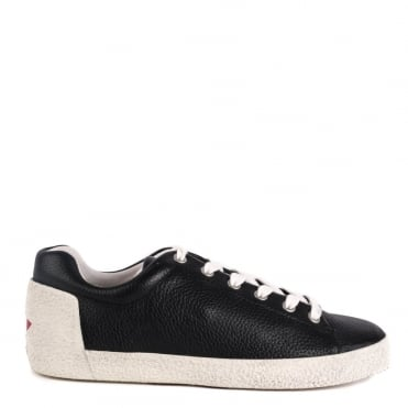 Nicky Black Textured Leather Trainer