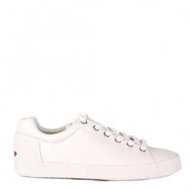 Nicky White Textured Leather Trainer