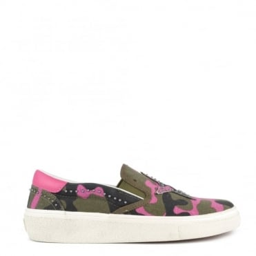 Nikita Pink and Army Canvas Slip On Trainer