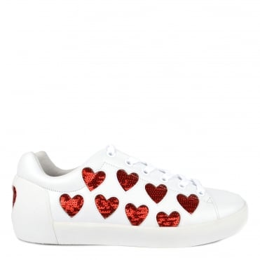 Nikita White Leather Red Heart Trainer