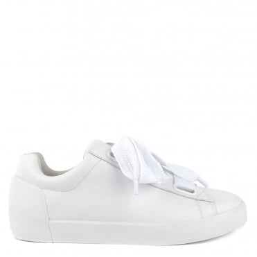 Nina White Leather Chunky Lace Up Trainer