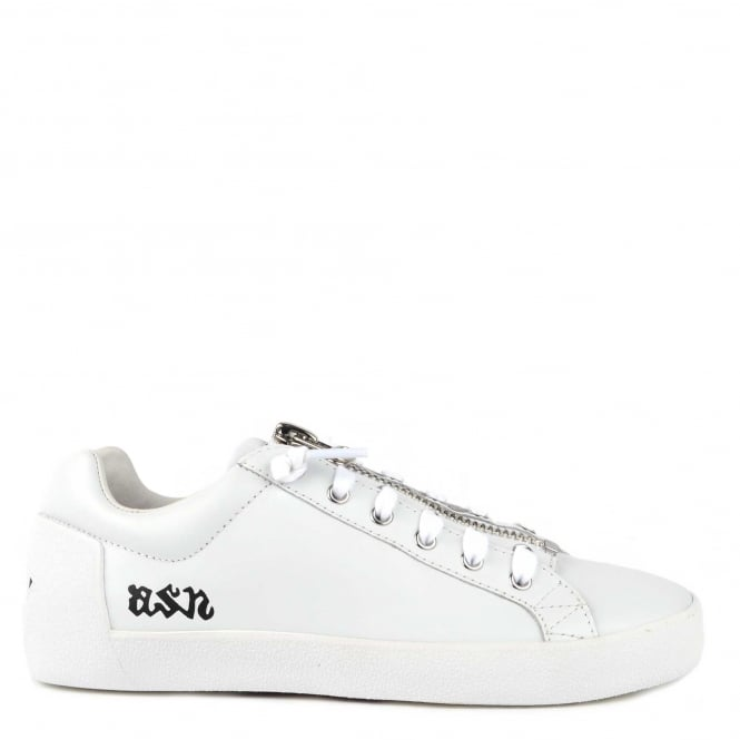Ash Footwear Nirvana White Leather Black Star With Zip Trainer