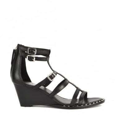 Nuba Bis Black Leather Wedge Sandal