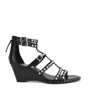 Nuba Black Leather Studded Wedge Sandal