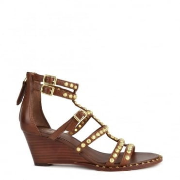 Nuba Cacao 'Brown' Leather Studded Wedge Sandal