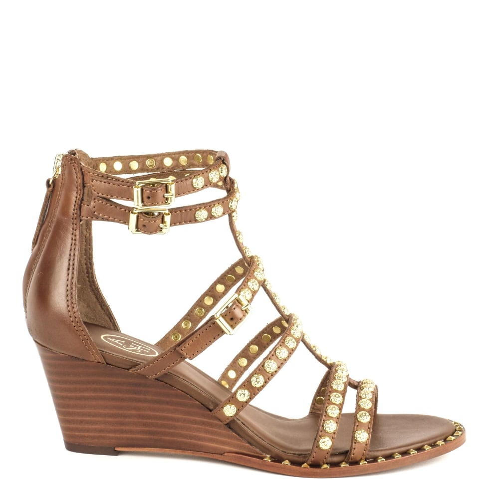 cc344708d445 Ash Footwear Nuba Cacao  Brown  Leather Studded Wedge Sandal