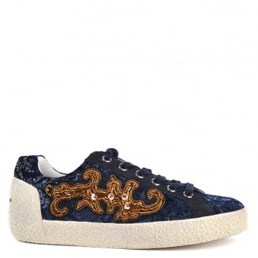Nymphea Midnight Suede and Printed Trainer