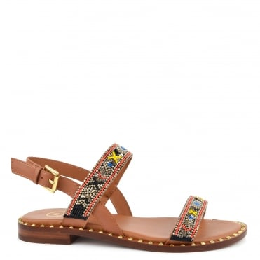 Papaya Tan Leather Beaded Sandal