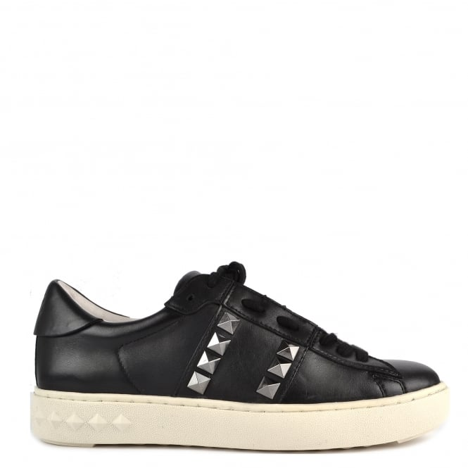 Ash Footwear Party Black Leather Gunmetal Studded Trainer