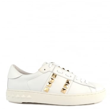Party White Leather Gold Studded Trainer