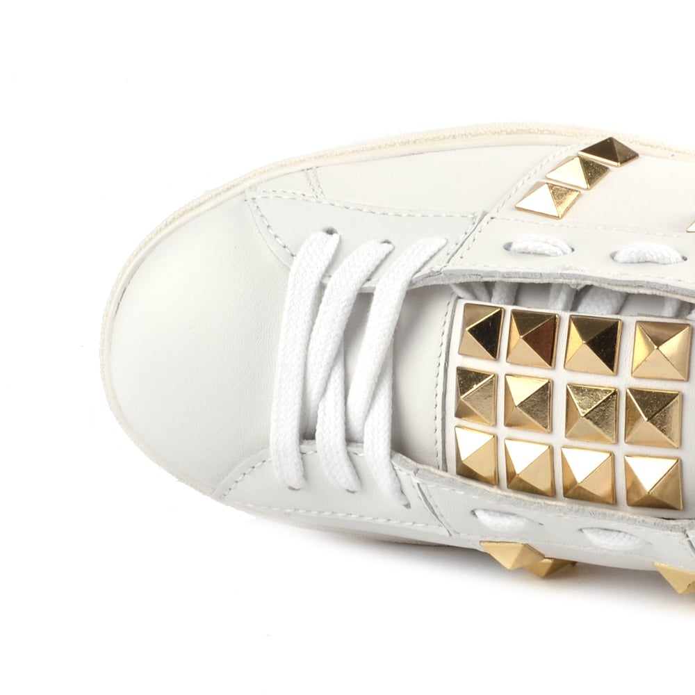 c3be44906f6 Ash Party White Leather Gold Studded Trainer
