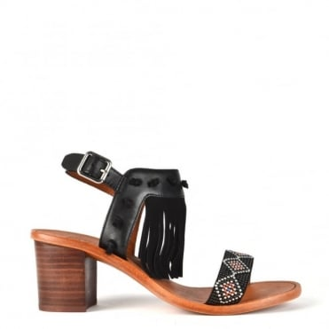 Patchouli Black Leather Fringe Heeled Sandal