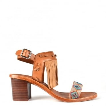 Patchouli Nude Leather Fringe Heeled Sandal