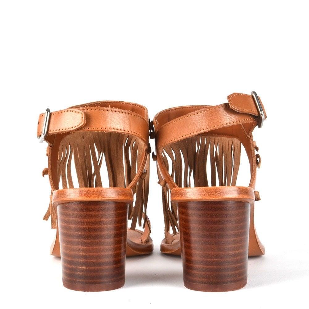 43e0fc0ac6d Patchouli Nude Leather Fringe Heeled Sandal