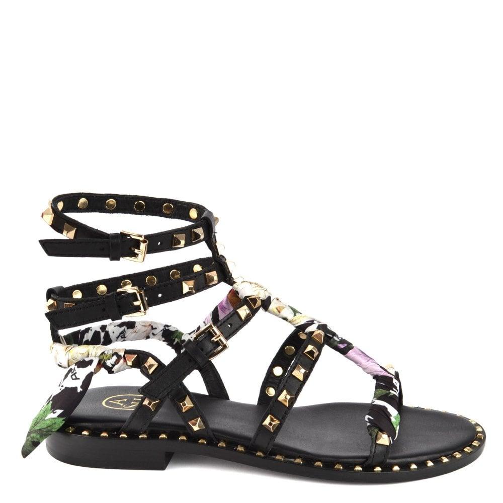 Ash Pax Black Leather Studded Sandals