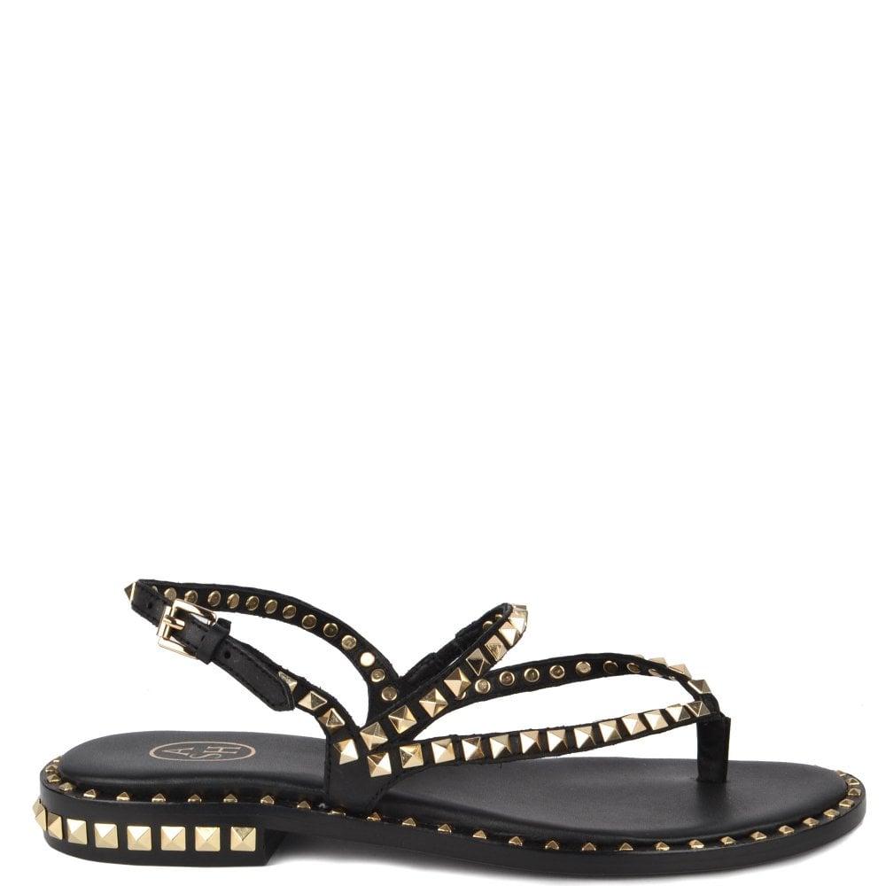 efad5fb7b7c4 Women s Ash Peps black leather sandals   gold studs
