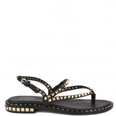 Peps Black Studded Flat Sandal