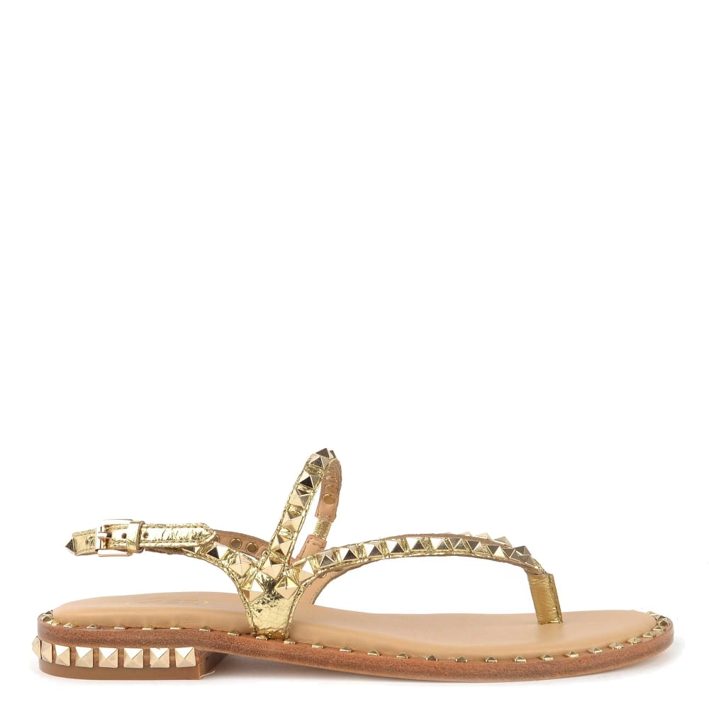 ade286e49a84 Ash Footwear Peps Gold Studded Flat Sandal
