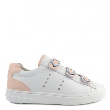 Pharell White Leather And Beaded Trainer