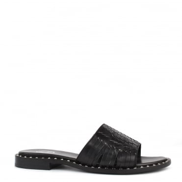 Playa Black Leather Woven Sandal