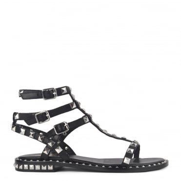Poison Bis Black Leather Studded Sandal