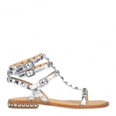 Poison Silver Leather Studded Sandal