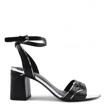Quantic Black Leather Heeled Sandal