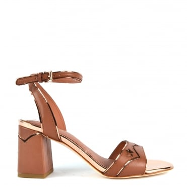 Quantic Rosewood 'Dark Pink' Leather Heeled Sandal
