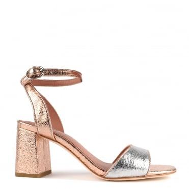 Quartz Rose Gold and Silver Textured Heeled Sandal