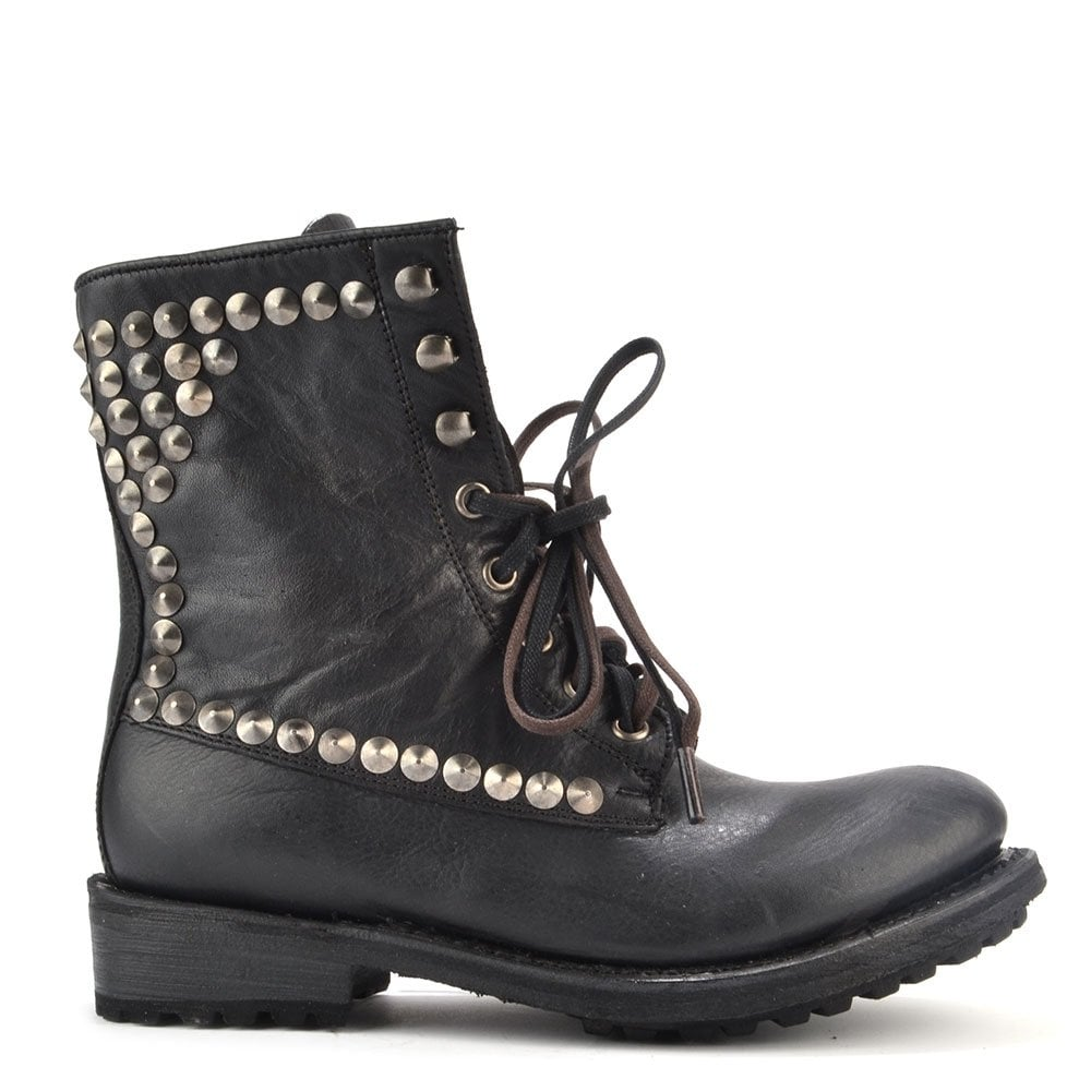 28434418933d Ash Footwear Ralph Black Leather Tarnished Studded Boot