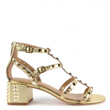 Rolls Gold Studded Heeled Sandal