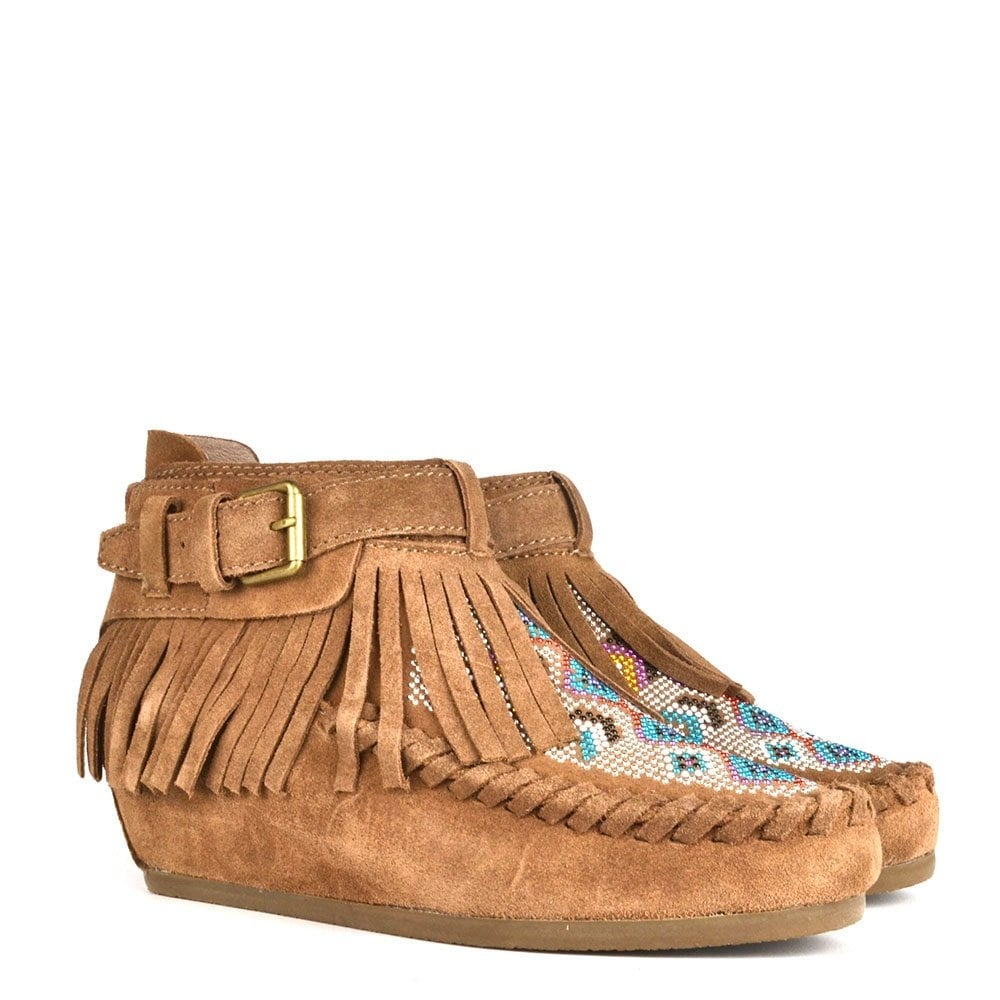 c1c8a285fb8 Ash Footwear Serpico Nuts Suede Fringed Wedge Boot - Women from ...